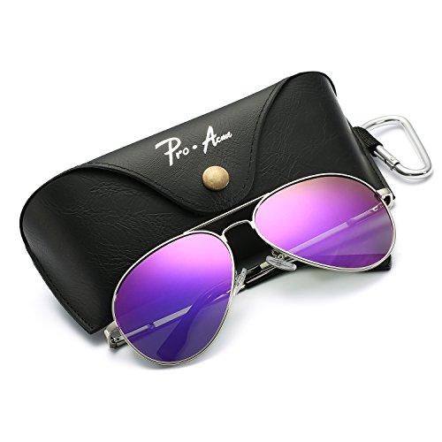 Pro Acme Oversized Aviator Sunglasses for Men Women Polarized Mirrored Lens - UV 400 with Case (Silver/Purple Mirror)