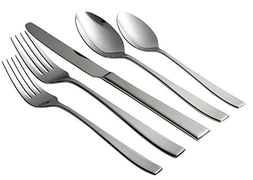 Jaf Gifts 60 Piece Flatware Set With Silver Sandblast Finish - Stainless Steel Cutlery Service For 12 With Soup Spoon, Teaspoon, Dinner Knife, Dinner And Salad (Glossy Salad Fork)