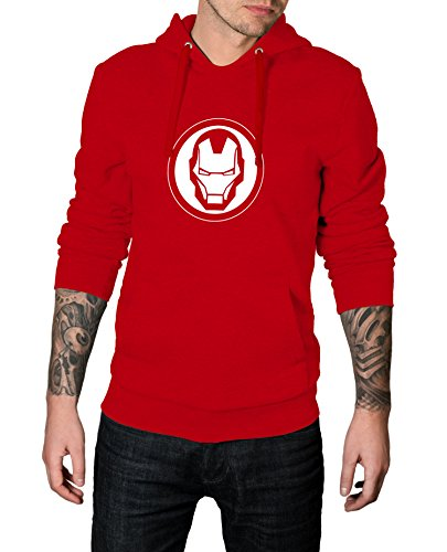 Decrum Iron Face Logo Costume Hoodie for Men | Red, 2XL -