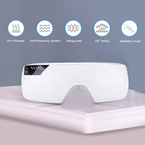 Wireless Electric Foldable Rechargeable Eye Massager for Dry Eye with Air Pressure Music Vibration Heat Compression Smart Eye Shield to Relieve Eye Fatigue Healthy Relax Vision Eye Care Masks