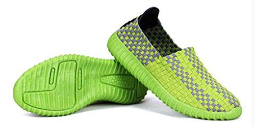 VECJUNIA Damen Elastischer Slip Auf Bequem Leichtgewicht Breathable gewebte Sport Wasser Schuhe Grün