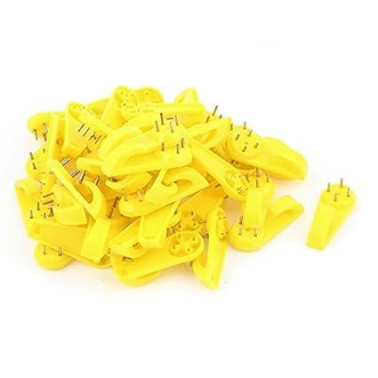 eDealMax 50 piezas de plástico amarillo duro cuadro de la pared de uñas Marco suspensión de gancho - - Amazon.com