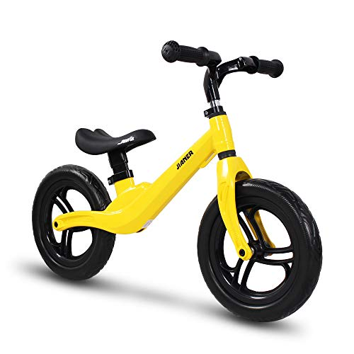 COEWSKE 12in Kid Balance Bike Children Running Bicycle Magnesium Alloy No Pedal Walking Bicycle for Ages 18 Months to 5 Years Old (Yellow)