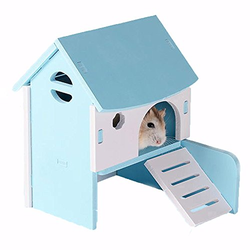 Dwarf Hamster Bedding (Kathson Dwarf Hamster House | DIY Wood Hut Hideout for Small Animals like Dwarf Hamster Gerbil Mouse and Guinea Pig (Blue))