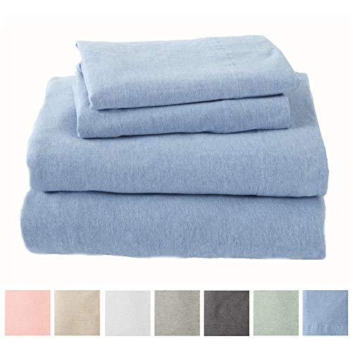 Great Bay Home Extra Soft Heather Jersey Knit (T-Shirt) Cotton Sheet Set. Soft, Comfortable, Cozy All-Season Bed Sheets. Carmen Collection Brand. (King, Sky Blue) (Gsm Microfiber 90 What Is)