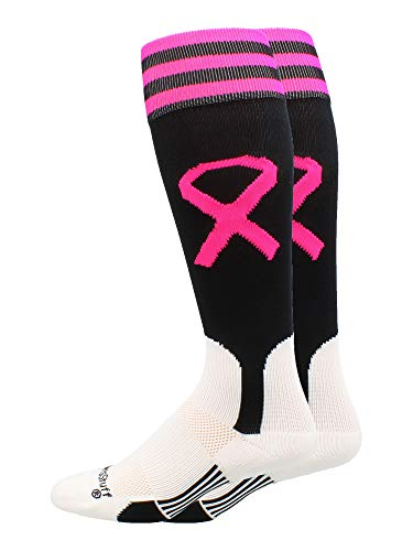 Twins Pink Ribbon - MadSportsStuff Pink Ribbon Breast Cancer Awareness Baseball Stirrups Socks (Black/Neon Pink, Small)