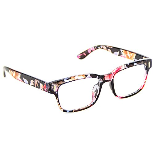 Cyxus Blue Light Blocking [Clear Lens]Computer Glasses, Retro Anti Eyestrain Headache Better Sleep Reading Glasses(Floral Print - Or Sunglasses Translucent Is Transparent