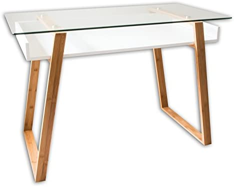 bonVIVO Writing Desk Massimo, Contemporary Desk Combining Glass and Wood, Small Modern Desk with Bamboo Legs and White Glazed Shelf, Usable As Computer Desk, Office Desk, Laptop Desk Or Vanity Desk
