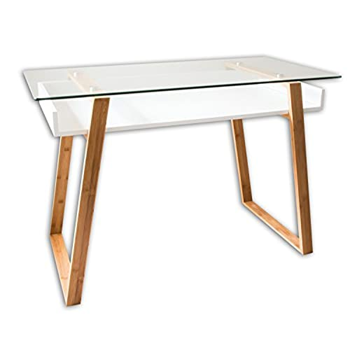 ... Desk Combining Glass And Wood, Modern Desk With Bamboo Legs And White  Glazed Shelf, Usable As Computer Desk, Office Desk, Secretary Desk Or  Vanity Desk