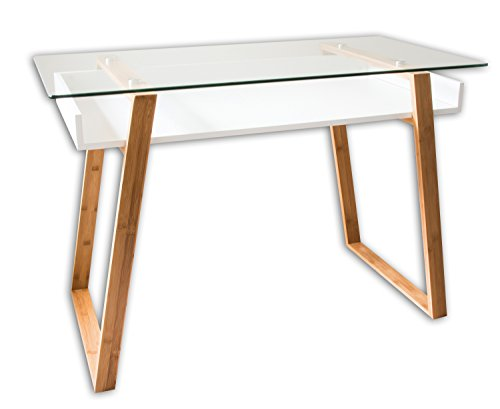 bonVIVO Writing Desk Massimo, Contemporary Desk Combining Glass and Wood, Modern Desk with Bamboo Legs and White Glazed Shelf, Usable As Computer Desk, Office Desk, Secretary Desk Or Vanity Desk (Glass Modern Desk)