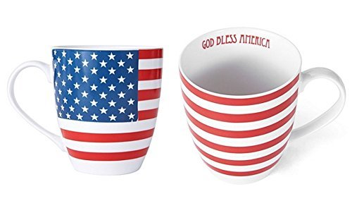 Pfaltzgraff Patriotic American Flag God Bless America on inside of Large Coffee Mug - 18 Oz