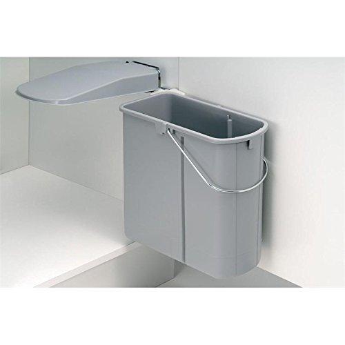 Einbauabfallsammler für Schränke mit Drehtüren 19 Liter in Alugrau ab 450 mm Schrankbreite Wesco Links und Rechts montierbar