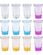 12 Pcs Shots Acrylic Cups Colorful Shot Glasses 1.2-Oz Heavy Base Shot Glasses for Spirits and Liquors, Compatible with 6 Shot Glass Dispenser and Holder (Blue, Purple, Yellow, Transparent)
