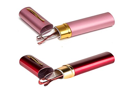 SOOLALA Lightweight Compact Reader Reading Glasses Reader w/ Pen Clip Tube Case, PinkRed, +2.75D