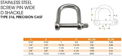 """3//8/"""" Stainless Steel Screw Pin Anchor Bow Shackle Type 316"""
