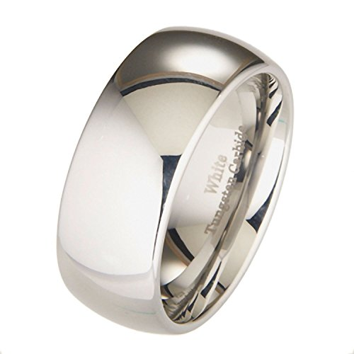 MJ Metals Jewelry 10mm White Tungsten Carbide Polished Classic Wedding Ring Size 12.5