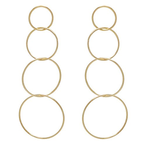 Open Round Link - SeraphinaNewYork 4 Round Open Circle Link Brass Drop Women's Earring (Gold)