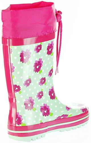 ConWay Gummistiefel Grün Regenstiefel Kinder Stiefel Mädchen Schuhe Blümchen Grün