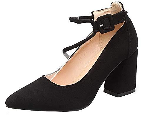 massiccio con fibbia nero alto tacco Agoolar con Donna scarpe tacco Gmxdb007009 6fxqUSH