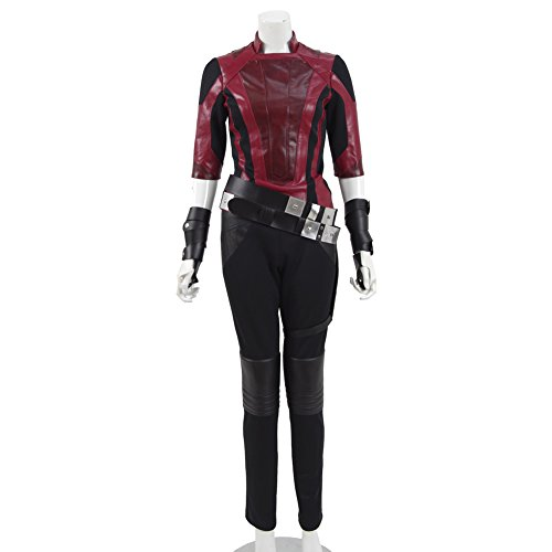 Gamora Adult Womens Costumes (2017 Movie Guard Galaxy 2 Faux Leather Costume Cosplay Uniform Halloween Outfit (Women L, Red))