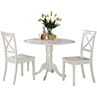 East West Furniture DLBO3-WHI-W 3-Piece Kitchen Table Set, Linen White Finish