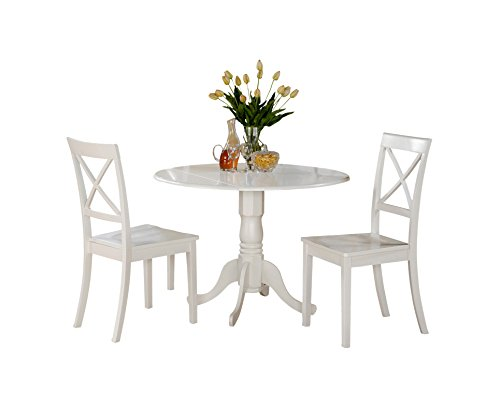 (East West Furniture DLBO3-WHI-W 3 Pc Small Kitchen Table and 2 Dining Chairs, 3 Pieces, Linen White Finish)