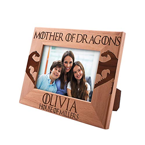 (Mother of Dragons Personalized Picture Frame, House of Last Name - Mom Gifts Custom Engraved Frame Gifts for Mom with Names & Date )