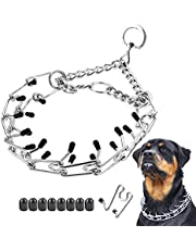 Dog Prong Collar, Classic Stainless Steel Choke Pinch Dog Chain Collar with Comfort Tips, 5