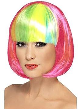 Peluca Partyrama rosa flequillo arcoíris
