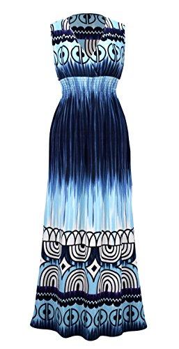 (Peach Couture Exotic Tahiti Multicolor Tie Dye Border Print Maxi Dress (Medium, Tie-Dye Blue))