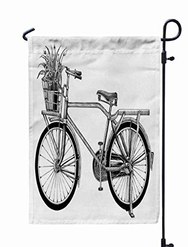 Musesh 12x18 Halloween Garden Flag,Vintage Bicycle Flower Pot Drawing Clip Art Isolated White Bakground for Home Outdoor Decorative with Double-Sided Printing]()