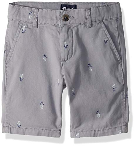 The Children's Place Boys' Big Plaid Shorts, Fin Gray, - Embroidered Clothing Childrens
