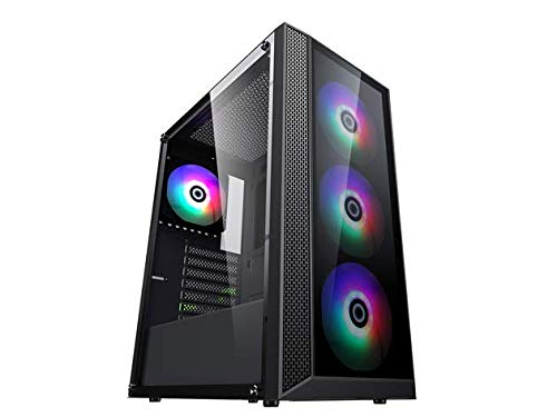 Raidmax i4 Series ATX Desktop Gaming Computer Case USB 3.0 Tempered Glass Window with 120mm ARGB LED Fans (i403)