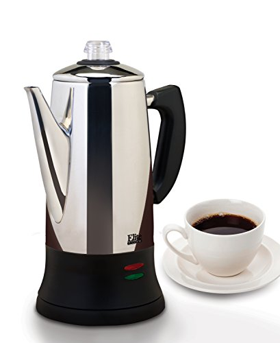 Platinum Small Coffee Pot - Elite Platinum EC-120 Maxi-Matic 12 Cup Percolator, Stainless Steel