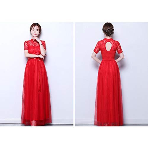 b2d1ca5efa0ae Femme Bozevon Demoiselle Longues Fête Pour Mariage 2 Robes Robe De D honneur  Rouge 5 Disponibles Styles Soirée E4xrq4