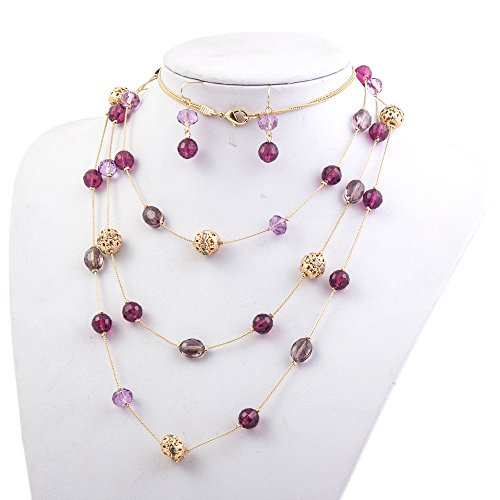 Fashion 3 Layer Handmade Jewelry Set Long Illusion Necklace (plated gold-purple) ()