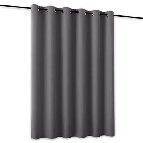 RYB HOME Room Divider Screen Partitions Curtain Economical Portable Modern Decro Blackout Privacy Panel for Patio Sliding Door/Beach/Shop/Office, 8 ft Tall x 10 ft Wide, Grey, 1 (Freestanding Portable Partition)