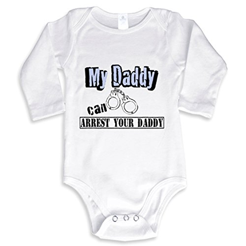 NanyCrafts Baby's My Daddy Can Arrest your Daddy Long Sleeve Bodysuit 6M White