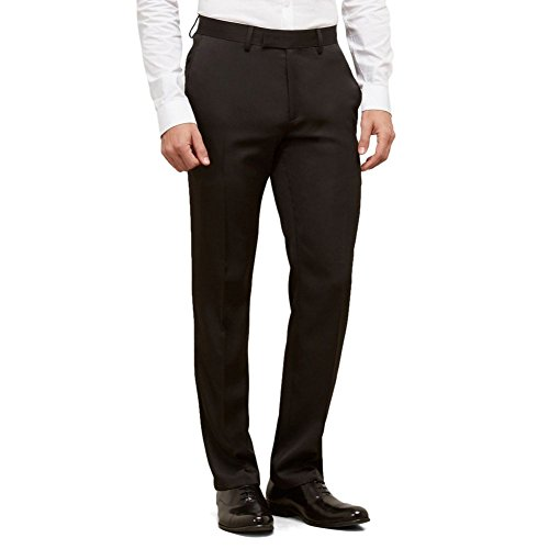 Kenneth Cole Reaction Men's Urban Heather Slim Fit Flat Front Dress Pant, Black, 32Wx32L (Kenneth Cole Pants Mens)