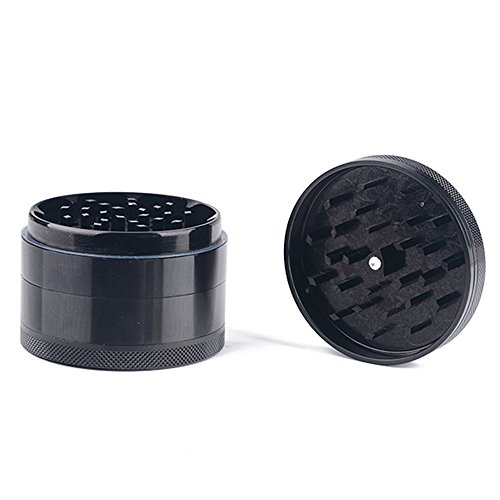 Price comparison product image Herb Grinder,  4-Stage Aluminum Tobacco Spice Grinder Smoke Weed Pollen Plant Crusher (Small,  Black / 42mm)