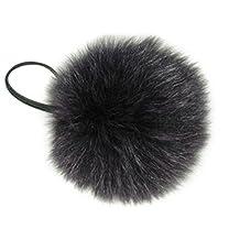 Purple Fox Pom Pom Ponytail Holder & Portable Device/Purse Pom Pom w/Elastic Cord