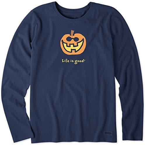 Life Is Good Halloween Shirt (Life is Good. womens crusher tee Long Sleeve Jake O'Lantern, Darkest)