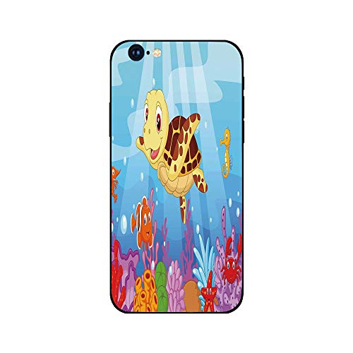 (Phone Case Compatible with iphone6 iphone6s mobile phone covers phone shell Brandnew Tempered Glass Backplane,Turtle,Funny Adorable Cartoon Style Underwater Sea Animals Baby Turtle and Fish)