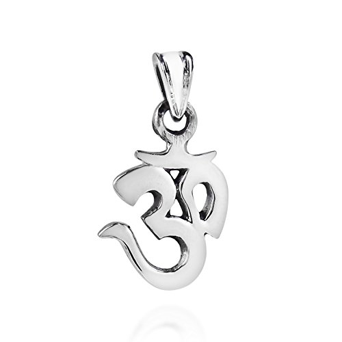 AeraVida Small Aum or Om Prayer Sign Symbol .925 Sterling Silver Pendant
