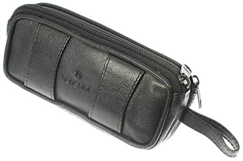 - Soft Black Goat Leather Double Spectacle Glasses Case with Belt Loops/Key Ring Loop
