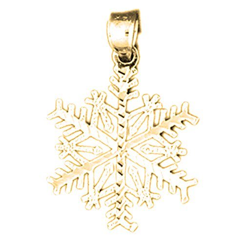 Jewels Obsession Snowflake Charm Pendant | 14K Yellow Gold Snowflake Pendant - 28 mm ()