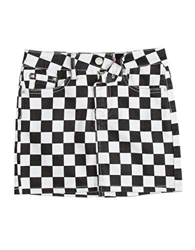 Almost Famous Checker Black & White Girls Denim Skirt, Black/White, ()