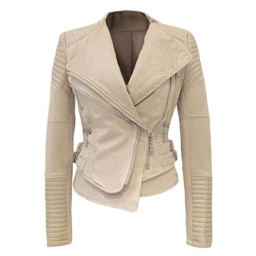 She'sModa Faux Suede Padded Shoulder Jacket for Women Slim Fit Winter Coat Moto Biker Jackets XL Beige
