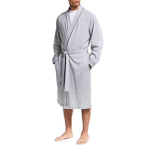 (Mens Kimono Robes in Heavyweight Jersey with Contrast Piping Plus Size Bathrobe (Grey 2XL/3XL))