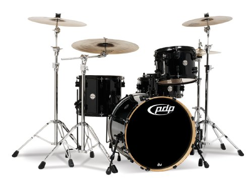 Pacific Drums PDCM2014PB Concept Series 4-Piece Drum Set - Pearlescent Black - Black Pacific Tom Drum